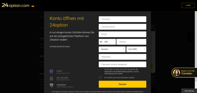 24Option Kontoeröffnung