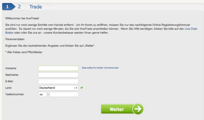 AvaTrade Registrierung