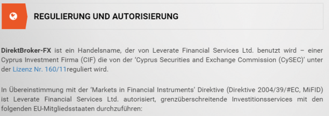 Regulation & Authorization I direktbroker-FX direktbroker-FX