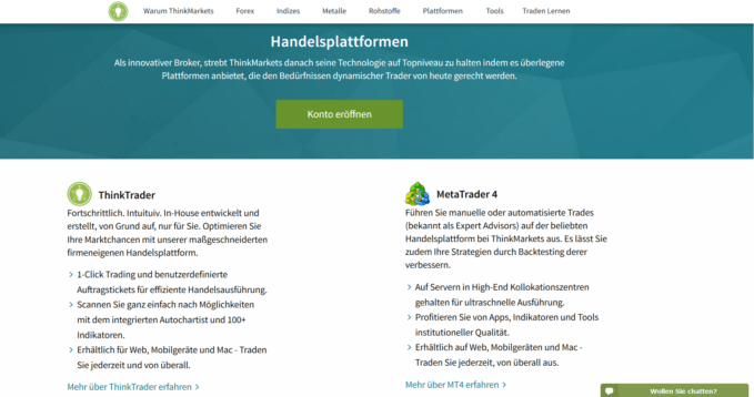 Handelsplattformen bei ThinkMarkets
