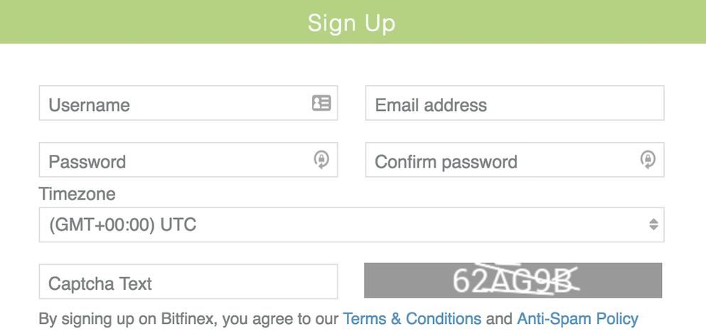 Bitfinex Registrierung