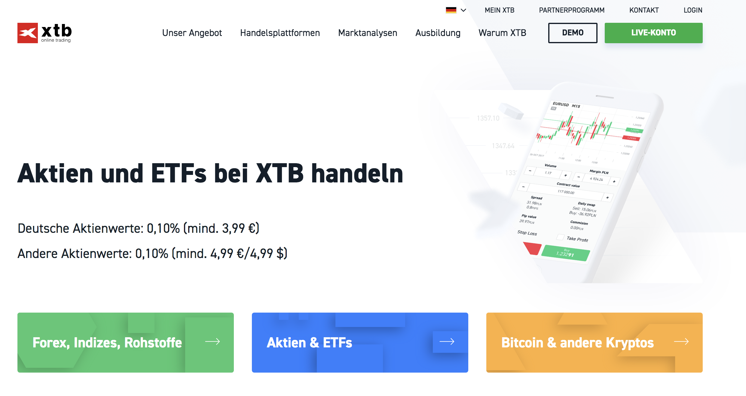 XTB Webseite