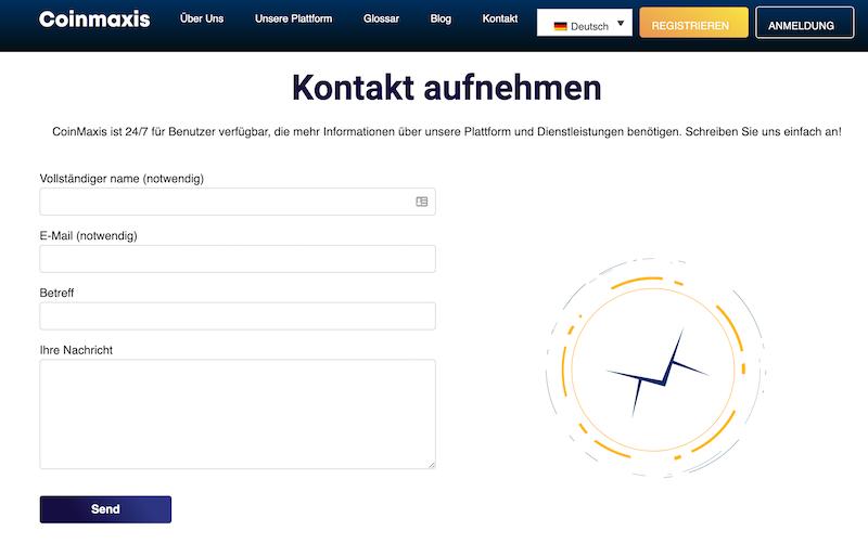 Das Kontaktformular auf der Webseite von Coinmaxis